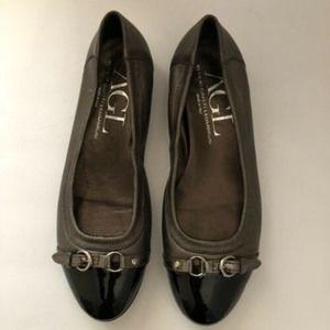 AGL Metallic Flats Black Patent Leather Size 10